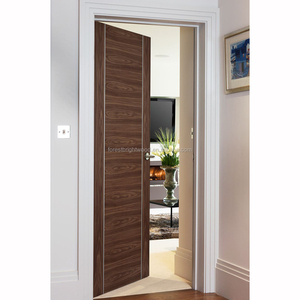 Forest Bright Interior Walnut flush door with Brushed Aluminium Inlays