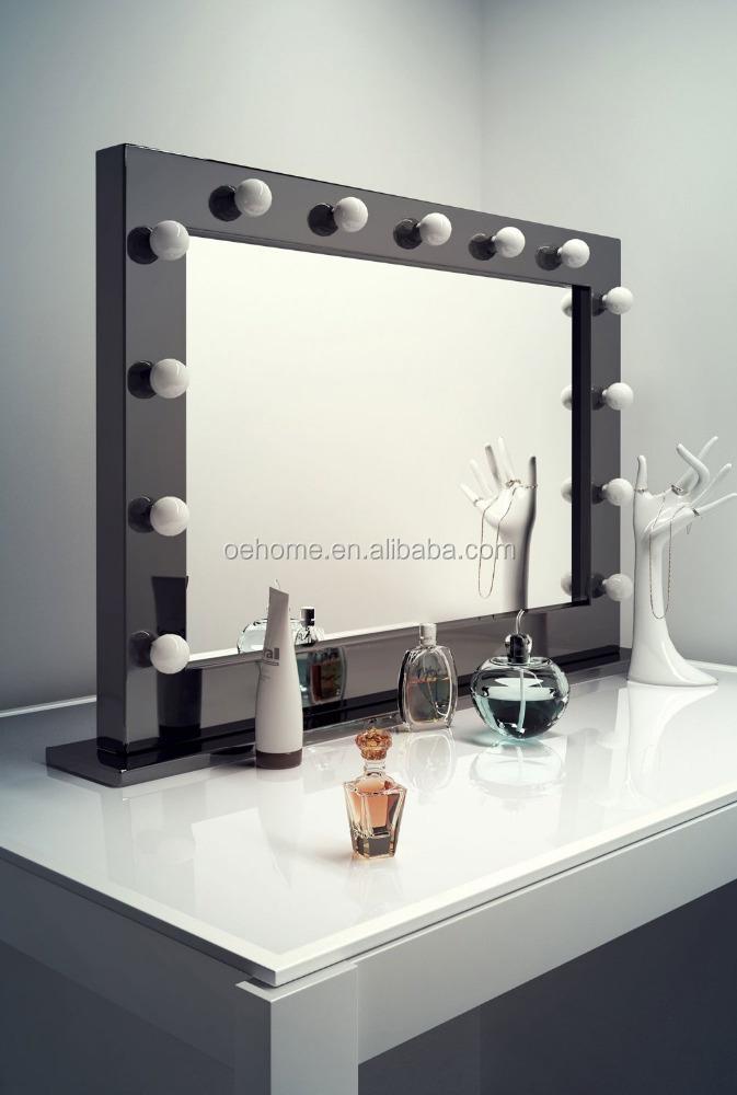 Schwarz hochglanz hollywood make up ankleideraum spiegel mit dimmbare lampen k314 spiegel - Hollywood spiegel lampen ...