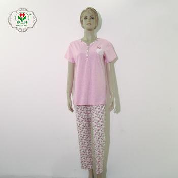 Summer Cotton Pajamas Set Women Organic Sleepwear Matching