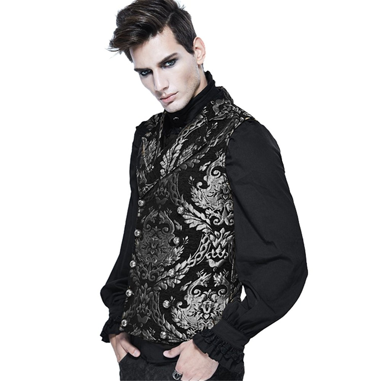 454c2c3ba98 Get Quotations · Devil Fashion Steampunk Gothic Men Waistcoat Punk Vintage  Palace Embroidered Sleeveless Vests Tops Coats
