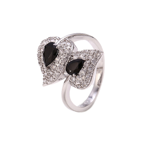 12357 xuping luxury leaf black artificial diamond pure rhodium plated rings