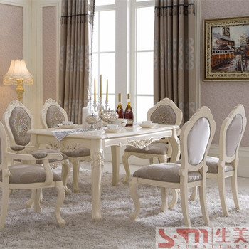 French Style Royal White Color Luxury Wooden Dining Table And Chairs ...