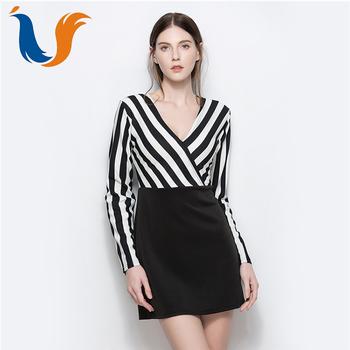 5886ef7f395 New design elegant stripe long sleeve women dress latest modern deep v-neck  splicing sexy