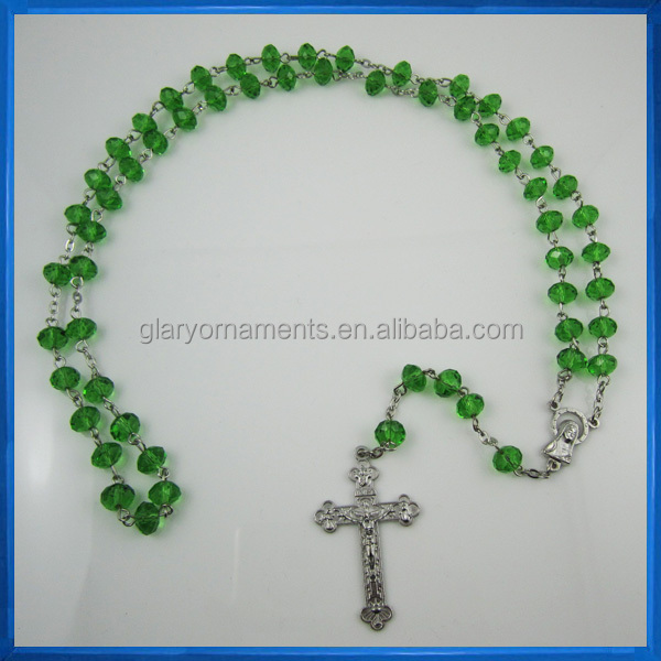 8mm baby green crystal rosary necklace
