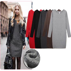 Women Autumn/Winter Mirco Round Velvet Collar Woolen Thickening Dress Skirt
