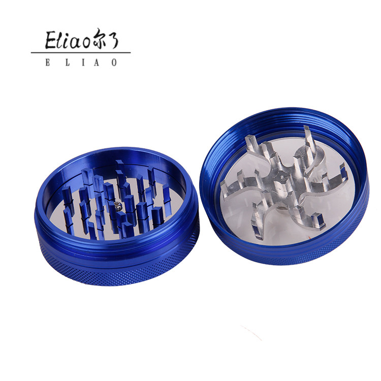 Erliao hand-style 2 layers Aluminium  Alloy Metal Herb Grinder manual Tobacco Herb Grinder