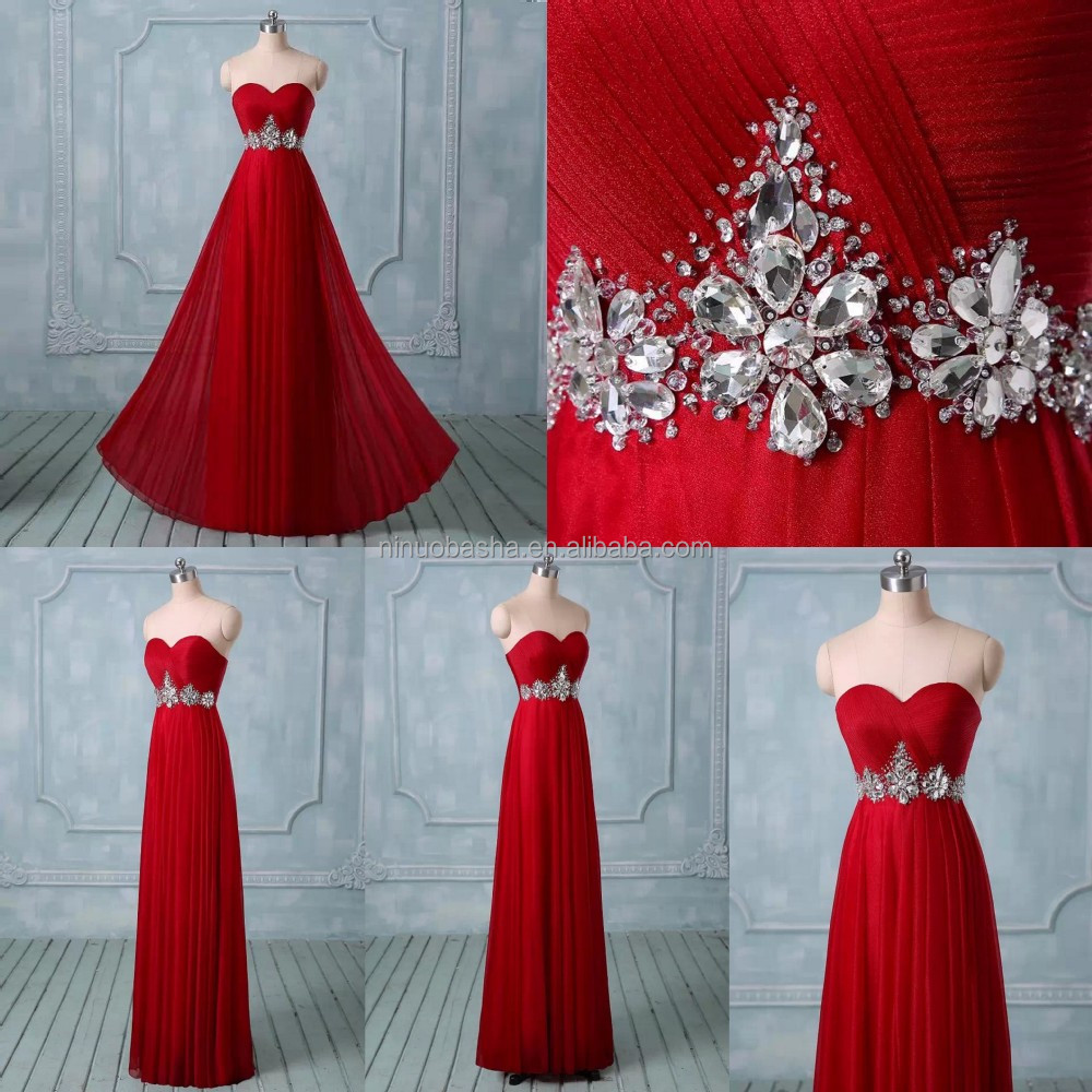 Delicately Red Chiffon Long Prom Dress Sweetheart Full-length Ruched ...
