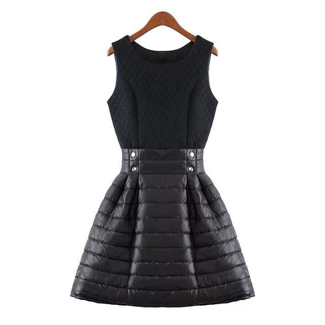 Black Patchwork Sleeveless Women Dresses Warm Winter Brand High Quality Party Free Shipping