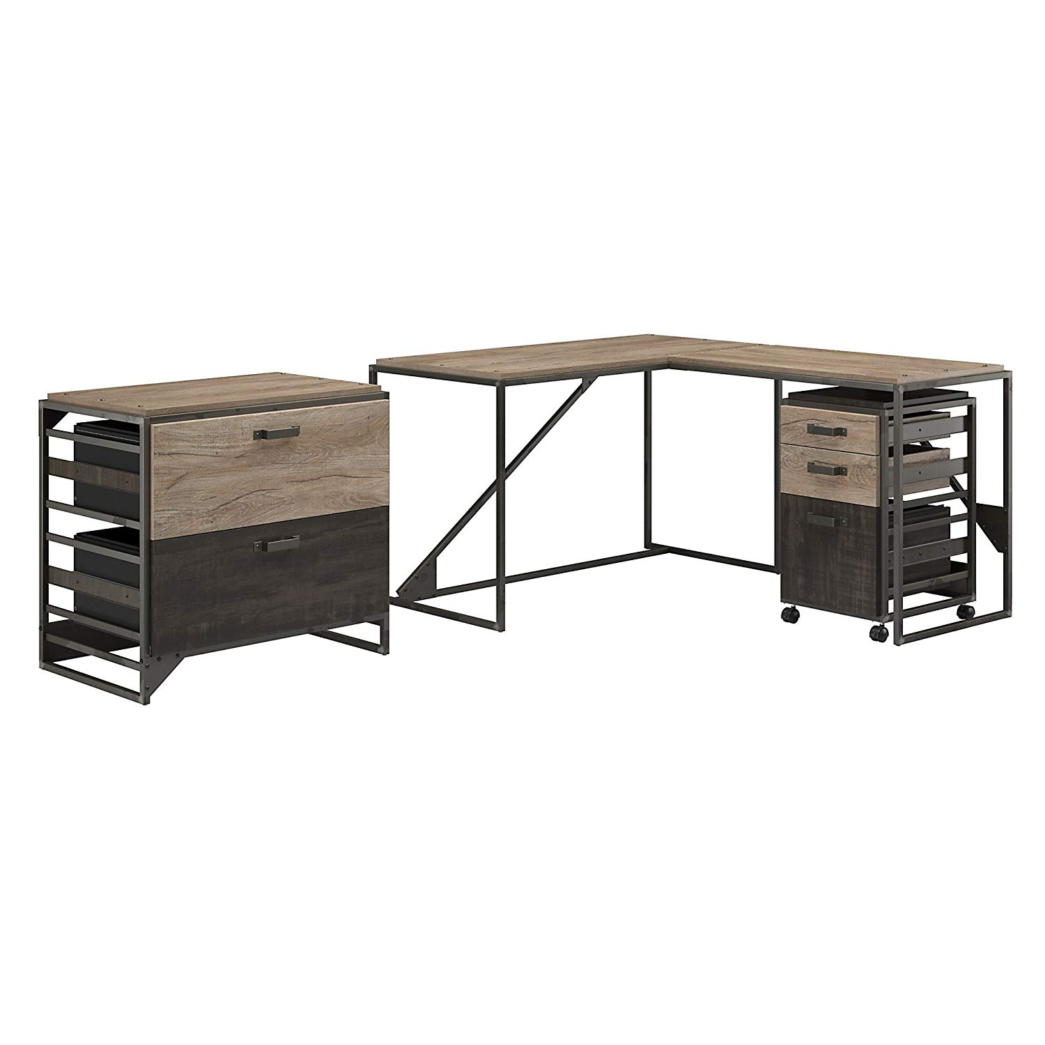 Get Quotations Bush Furniture Refinery 50w L Shaped Desk With 37w Return And File Cabinets In Rustic