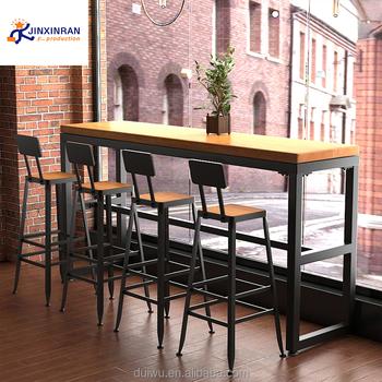 Foshan Großhandel Eisen Bistro Möbel Massivholz Bar Und Pub Tisch