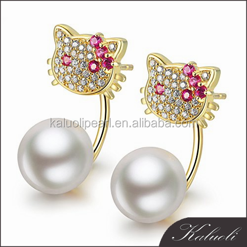 Customized cat design natural pearl earring jewelry silver 925