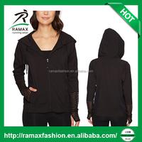 Ramax Custom Women Full Zip Long Sleeve Sport Training Black Hoodie With Thumb Hole