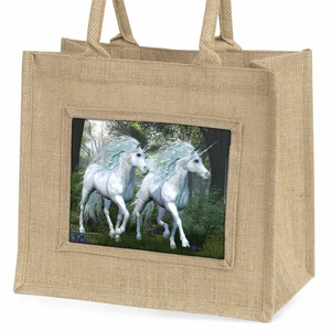 Two White Unicorns Large Natural Jute Shopping Bag Christmas Gift