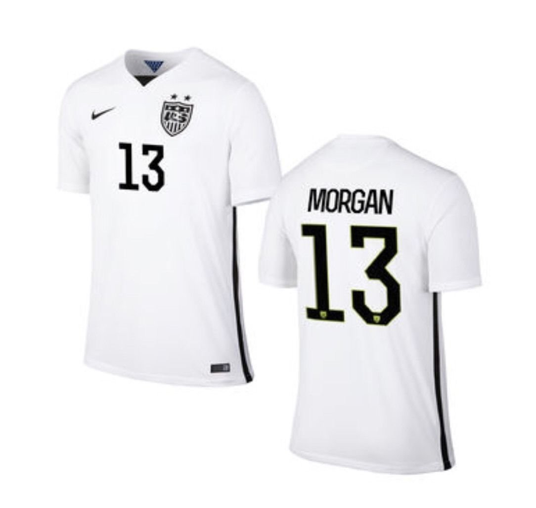 96281e34932 Alex Morgan Youth Kids Large U.S. Soccer Nike Stadium Home White World Cup USA  Jersey