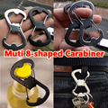 Outdoor Equipment 1Pcs Stainless Steel 8 Characters Carabiner Strong Camping Carabiner Hook Keychains Bottle Opener