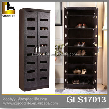 Goodlife Luxury Shoe Cabinet, Wooden Tall Shoe Cabinet With Hollow Design