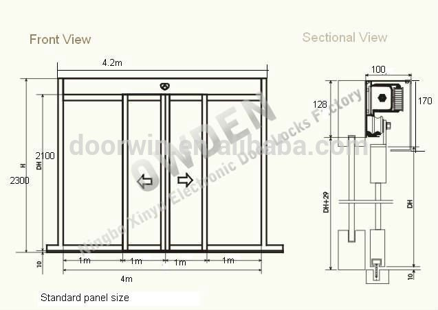Commerical residential automatic glass sliding door auto for Sliding glass doors drawing