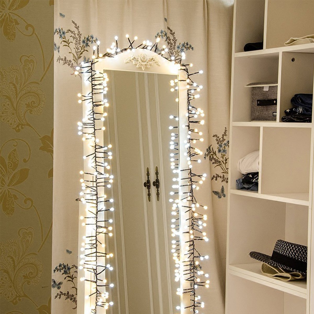 16ft 300 LED Waterproof Global Fairy String Lights - Indoor / Outdoor - Plug in 110V - Starry Light for Christmas Garland Lighting Decor Tree Partly Garden Wedding Bedroom Home Decoration (White)