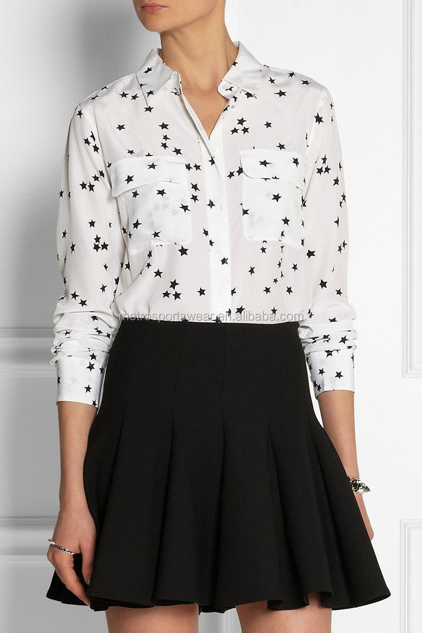 21c2cfcce94 2014 г. Лидер продаж белая ткань черного звезды Женская шелковая рубашка с  длинным рукавом