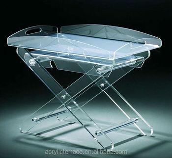 Acrylic Hotel Serving Tray On Stand HA14030101039 Acrylic Serving Tray Vanity  Tray Table
