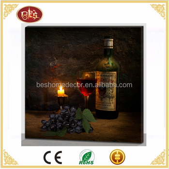 Wine pictures on canvas with LED lights lighted wall canvas art