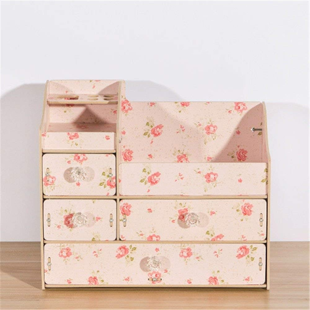 ZQ Multi-drawer,multi-cell,jewelry/cosmetics wooden storage box with handles,stationery/scissors/small items shelf,Pink