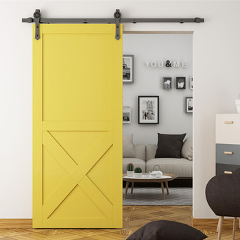 X Brace Yellow Interior Slab Wood Barn Doors Sliding Doors For Easy