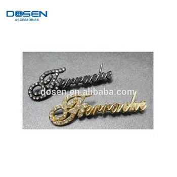 Famous brand names logos,sewing accessories for clothing,metal name plates