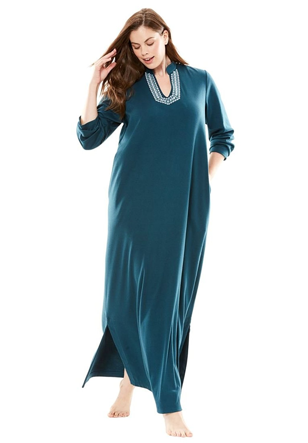 83f309d7fc1c3 Buy Only Necessities Womens Plus Size Long Embroidered Lounger in ...