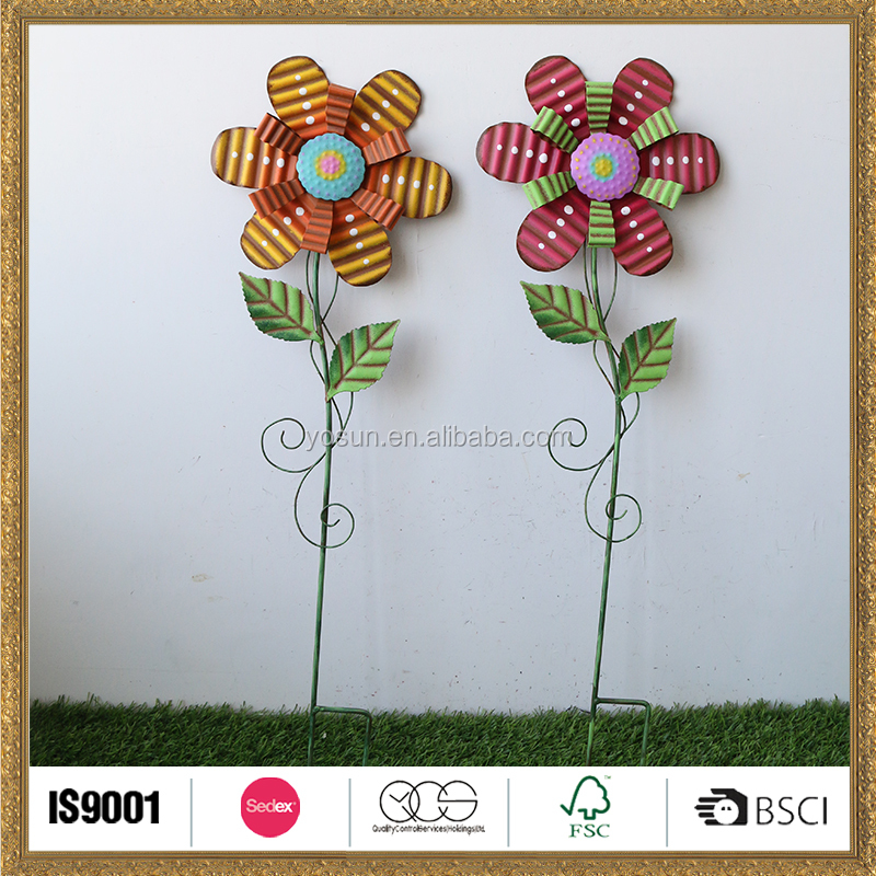 High quality favorable price metal flower garden stick for spring