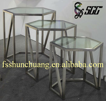 Superior Stainless Steel Hexagon Buffet/Banquet/Tea Break Table With Glass Top For  Hotel