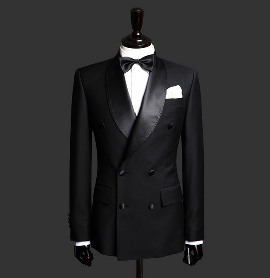 Double Breasted Two Buttons Satin Lapel Customized Groom Black Wedding Tuxedos Jacket Pants
