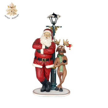Large Outdoor Christmas Decoration Deer And Fibergl Statue Ntrs 105y Decorations Resin Santa