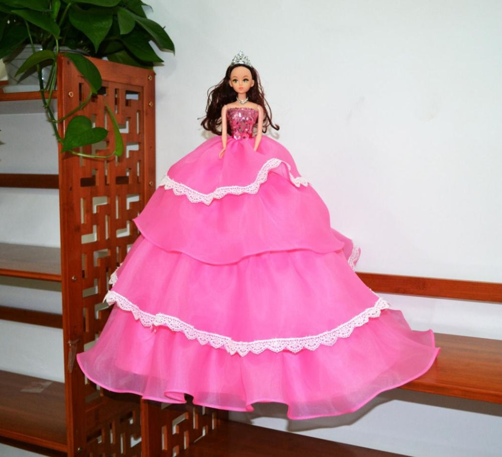 Hot selling personalized the real hair bride doll pink wedding dress for wedding car decoration