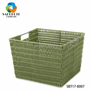 Wholesale Handmade PE Pipe Hand-Woven Flat Laundry Storage Basket With Frame And Open Handles
