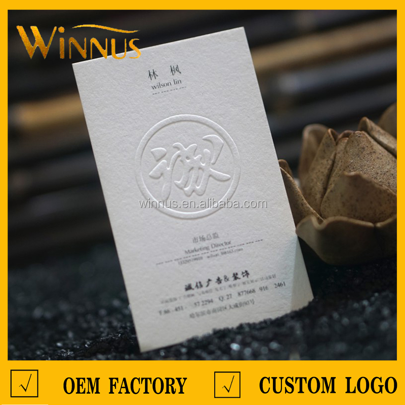custom luxury biodegradable black white thick natural paper name card printing 3d embossed logo debossed business card