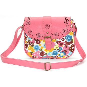 b07fdbeac0 Beautiful Pink Floral Printed Young Girls Shoulder Bag - Buy Young ...