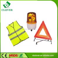 For car road way safety reflective warning triangle and vest suit