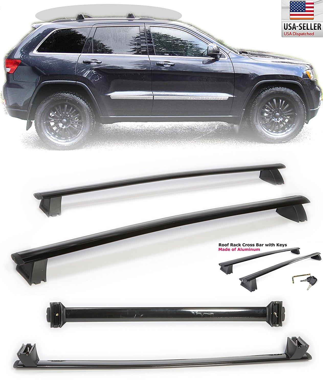 2011-2014 Grand Cherokee Black Roof Top Rack Cross Bar Luggage Carrier Aluminum Pair 2011 2012 2013 2014