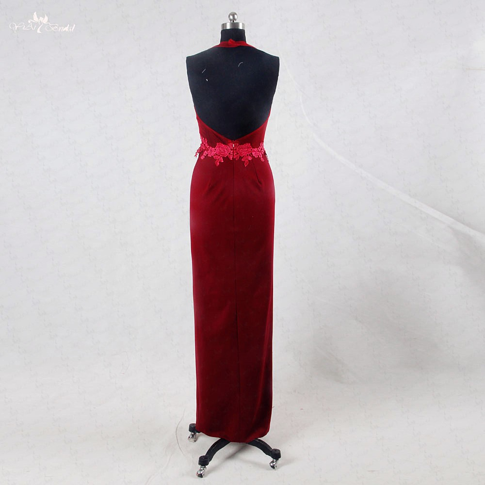 RSE720 Sexu Back Open Evening Dress Burgundy Ladies Long Evening Party Wear Gown