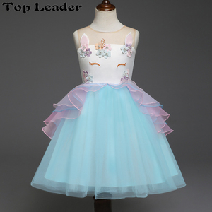 Fancy Kids Unicorn Tulle Dress for Girls Embroidery Ball Gown Baby Flower Girl Princess Dresses Wedding Party Costumes Unicorn