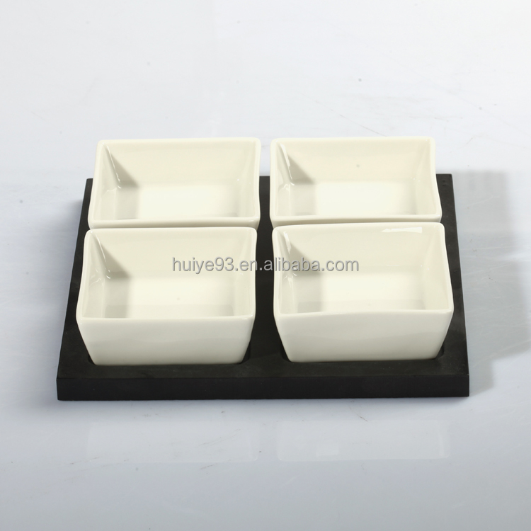 Square Dish, Porcelain Square Dishes Set with MDF Tray