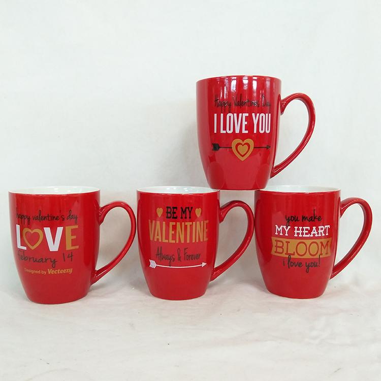 Hohe qualität neue design rot farbe valentinstag benutzerdefinierte keramik rot kaffee becher