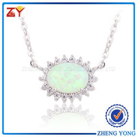 Best selling 925 sterling silver Rhodium plating round opal fashion necklace for party