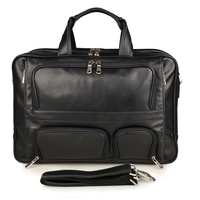 7289A Black Vertical Cow Leather Messenger Laptop Bag For Travel
