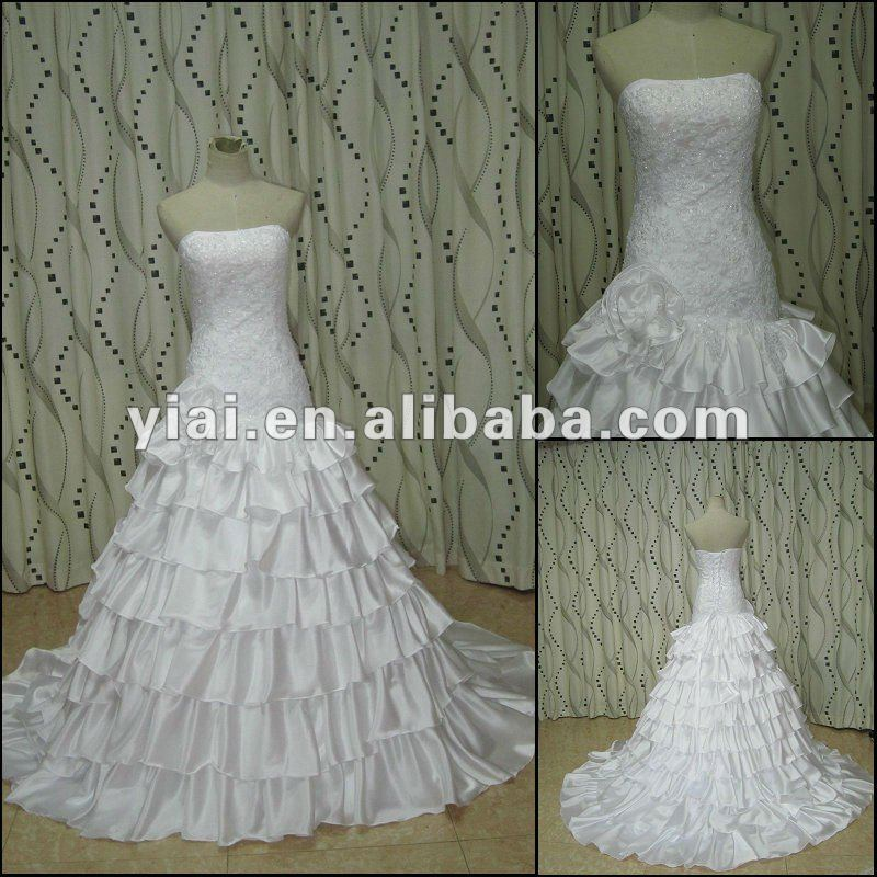 JJ2735 Latest Dress Designs White Ball Gown Satin Layered Bridal Wedding gown