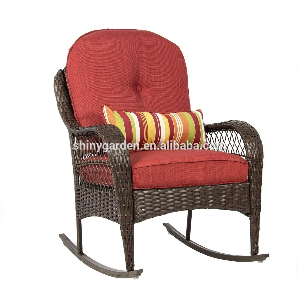 Outdoor Patio Furniture For Seniors: Outdoor Wicker Rocking Rattan Reclining Chair With