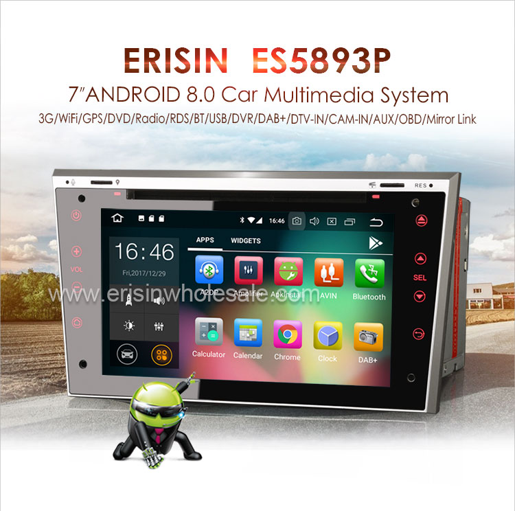 Erisin Es5893p Android 8 0 Car Dvd Gps Sat Nav Dab+ For Opel Vauxhall Corsa  C/d Vectra Zafira Astra Combo - Buy Android 8 0 Car Dvd Cd