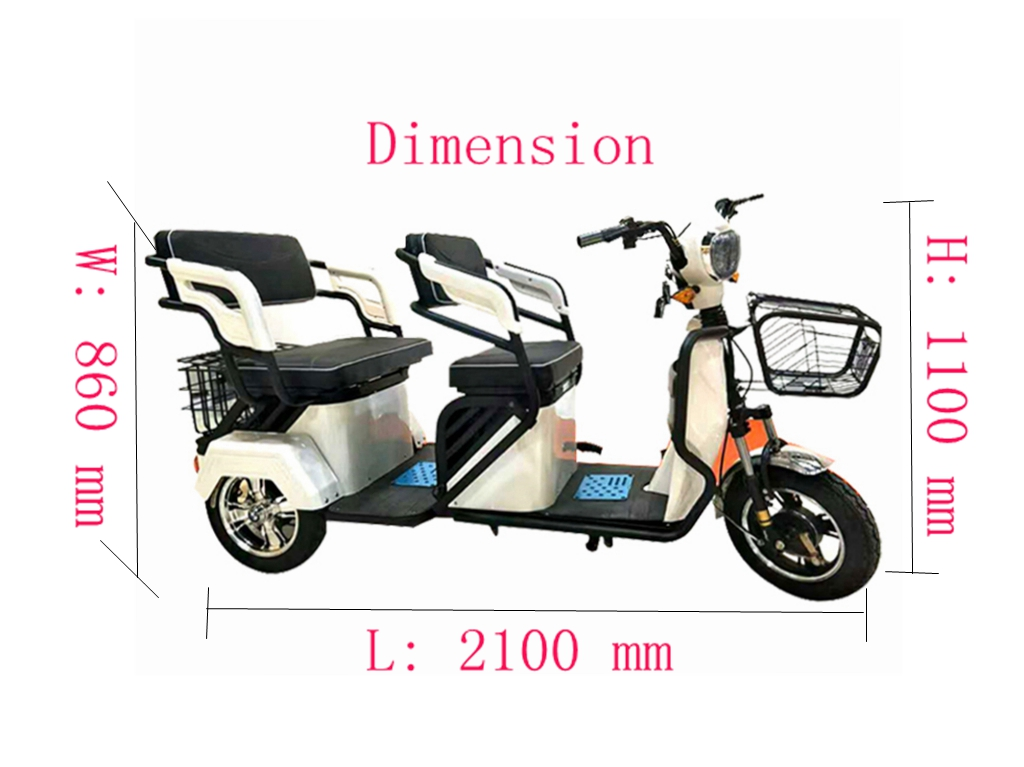 China pedal assisted electric rickshaw two seats adult tricycle for elderly
