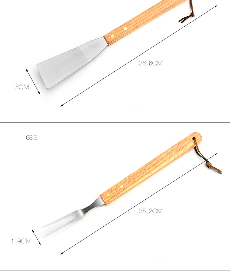 Portable Baking Set With Wooden Handle,BBQ Grill Tool Stainless Steel Barbecue Tools Set